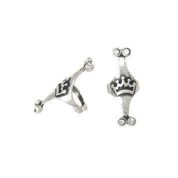Pair of Ear Cuffs Sterling Silver Unique Crown Design with Jewels