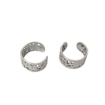 Pair of Ear Cuffs Sterling Silver Unique Cut Out Flower  Design
