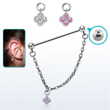 Ear Industrial Barbell 14 Gauge with a 5mm Press Fit Gem Ball and a 5mm Steel Ball
