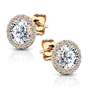 Pair of .925 Sterling Silver Stud Earrings/CZ Paved Round with 5mm CZ Center 20ga