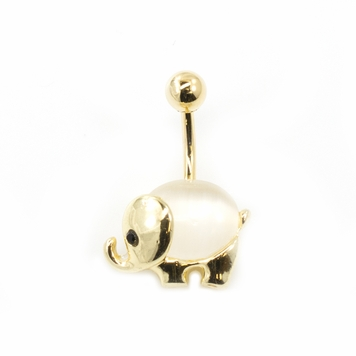 Elephant Design Large Opalite Stone Belly Button Ring 14G