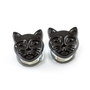 Pair of Double Flare Black Cat Head Design Glass Ear Plugs