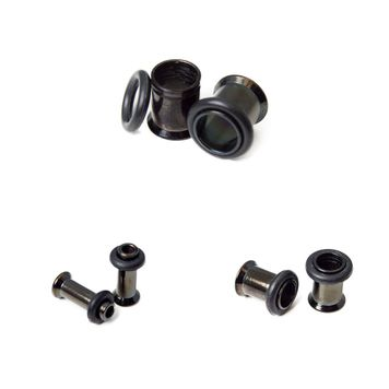 Black I.P. Tunnels with O-Ring - 3 Sizes Available - Sold in Pairs