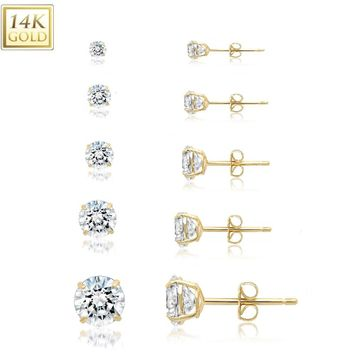 14k Solid Yellow Gold Cubic Zirconia Stud Earrings- Sold as a Pair 20ga