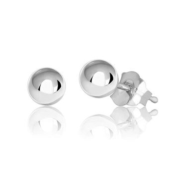 14k Solid White Gold Hollow Ball Stud Earrings- Sold as a Pair 20ga