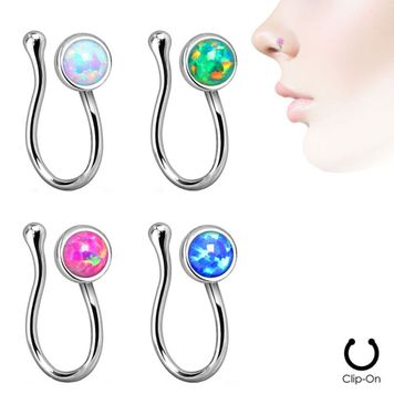 Fake Non-Piercing Nose Clip - Rhodium Plated with Bezel-Set Opalite - Sold Each