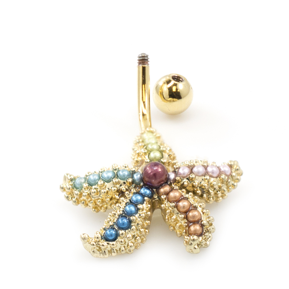Fancy Star Fish Belly With Multicolored Faux Pearls Belly Button
