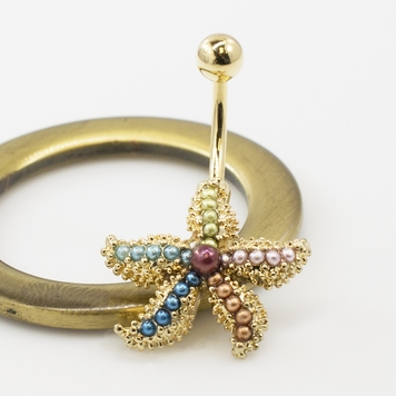 Fancy Star Fish Belly with Multicolored Faux Pearls Belly Button Ring 14G