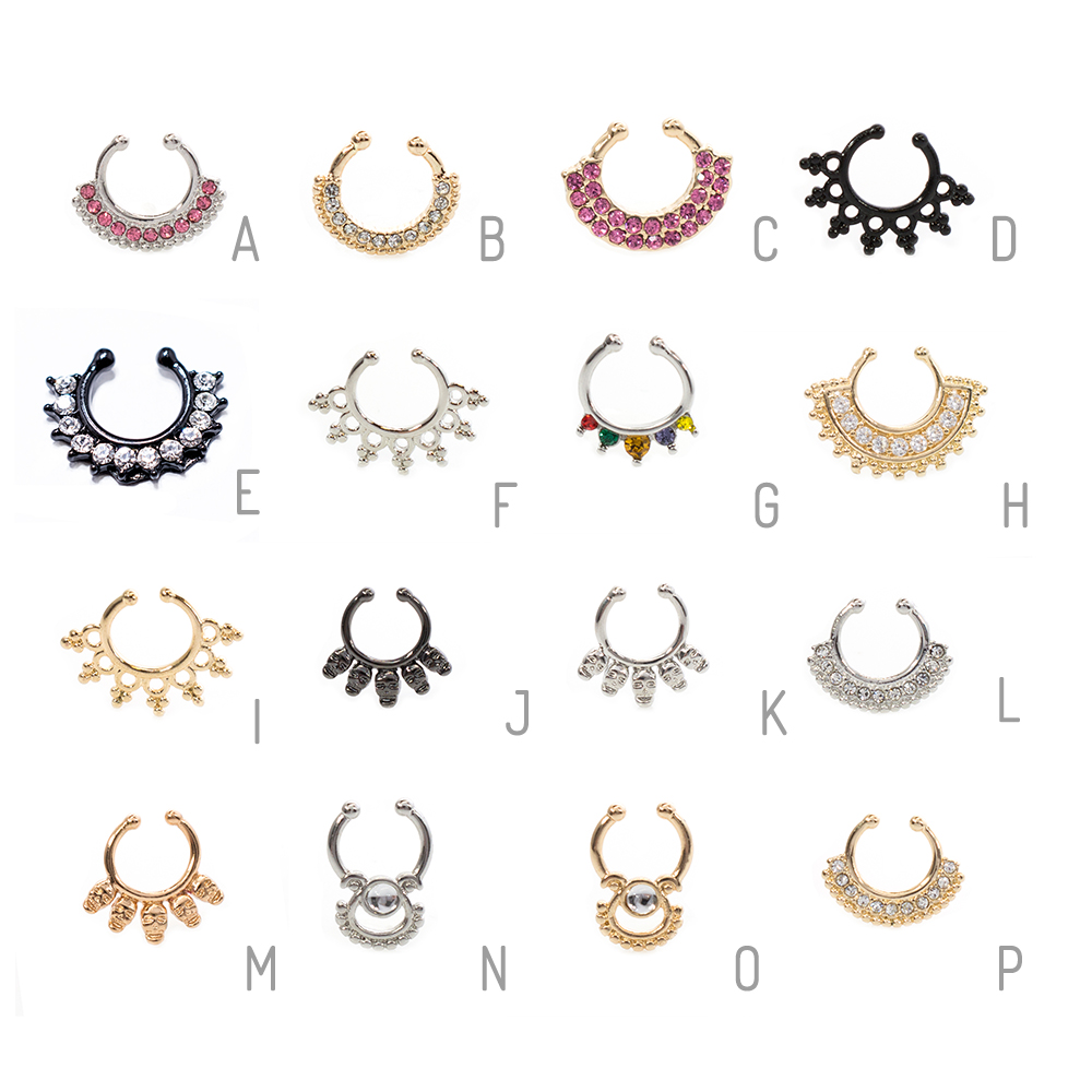 Faux Non-Piercing Septum Ring 316L Surgical Steel- Variety-Sold Each