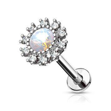Flat Back Stud Labret Internally Threaded CZ Paved Round Flower with Opalite Center Surgical Steel 16ga