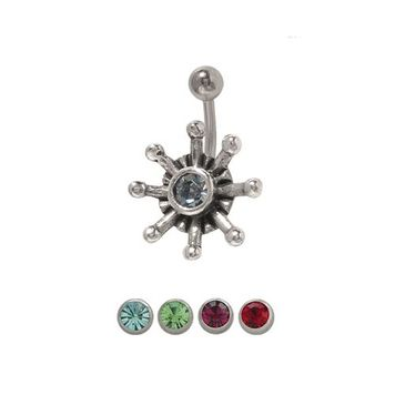 14 gauge Flower Belly Button Ring Surgical Steel with Jewel