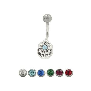 14 gauge Flower Belly Button Ring with Cz Jewel