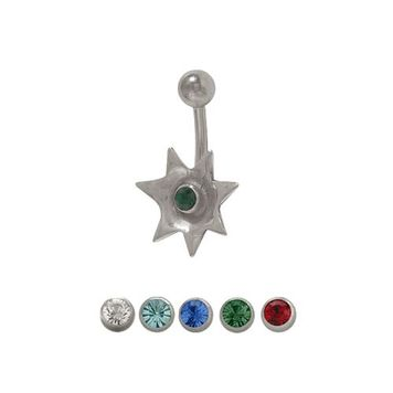 14 gauge Flower Belly Button Ring with Jewel