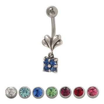 Flower 14 gauge Belly Ring Surgical Steel with Dangling Jewels