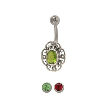 14 gauge Flower Belly Ring Surgical Steel with Jewel