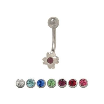 Sterling Silver Petite Clover CZ Design Belly Button Ring 14ga