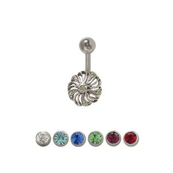 14 gauge Flower Belly Ring Surgical Steel with Jewels
