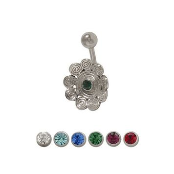 14 gauge Flower Belly Ring with Jewel