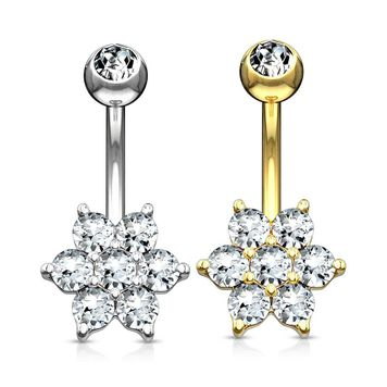 Flower Clear CZ 14 Karat Solid Gold Belly Button Ring 14ga