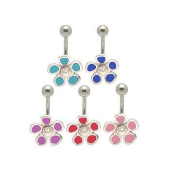 Flower Jeweled 14 gauge Belly Ring