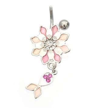 Luxe Modz Pastel Flower Design Dangle Fish Belly Button Ring 14ga