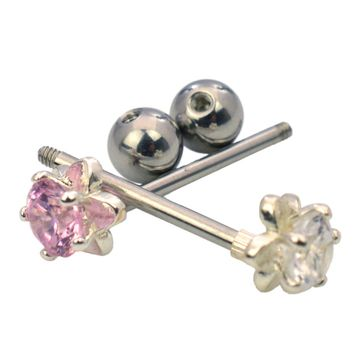 Pack of 2 Straight Barbell with a Shining Flower in the End Made of 316l Surgical Steel
