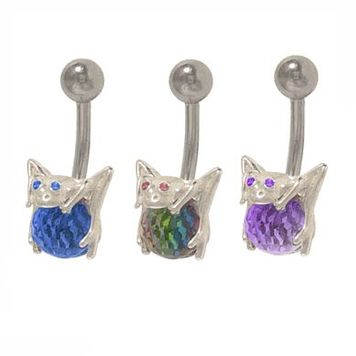 14 gauge Frog Belly Ring Surgical Steel with Disco Ball