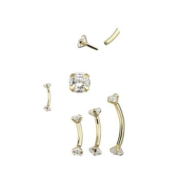 Push in Curved Barbell 14kt Solid Yellow Gold with Prong CZ Ball Ends 16 Gauge- Sold Each