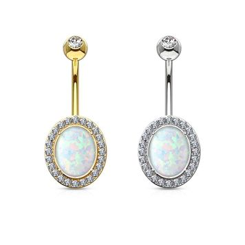 Oval Opal Center with Clear CZ Frame Solid 14KT Gold Non Dangle Belly Button Ring 14ga