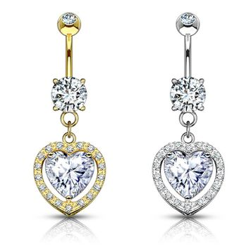 14kt Solid Gold Heart Dangle with Heart Shaped Solitaire CZ Belly Button Ring 14ga