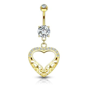Filigree Heart Dangle with CZ 14KT Gold Dangle Belly Button Ring 14ga