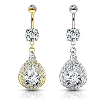 14kt Solid Gold Three Tiered Tear Drop Design with Cubic Zirconia Belly Button Ring 14ga