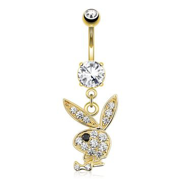 14kt Solid Gold Playboy Bunny Dangle Belly Button Ring 14ga