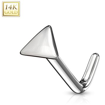 14Kt. Gold L Bend Nose Stud Rings with Flat Triangle Top 20ga-Sold Each