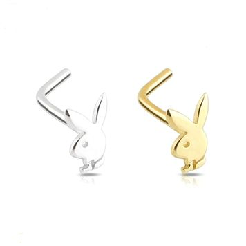 14Kt. Solid Gold L-Shape Play Boy Bunny Design Nose Ring 20ga