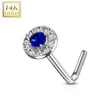 14 Kt. Gold L Bend Nose Stud Ring with Double Tier CZ Paved Round Top 20ga