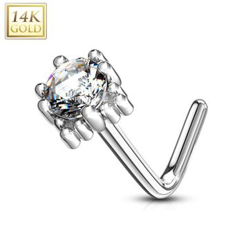 14Kt. Gold L Bend Nose Ring with Prong Set CZ Centered Four Point Star