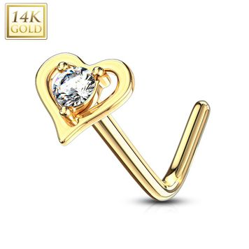 14Kt. Gold L Bend Nose Ring with Prong Set Round CZ Center Hollow Heart 20ga