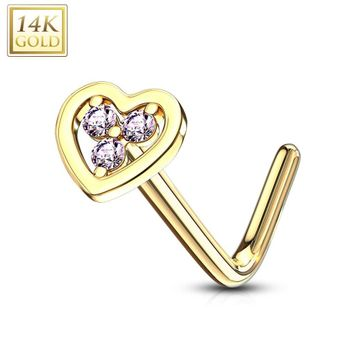 14Kt. Gold L Bend Nose Ring with Tri Stacked Round CZ Center Hollow Heart 20ga
