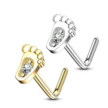 14Kt. Gold L-Shape Baby Foot Design with Micro CZ Center Set Nose Ring 20ga