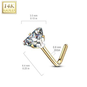 14Kt. Gold L Bend Nose Ring with Prong Set Triangle CZ 20ga