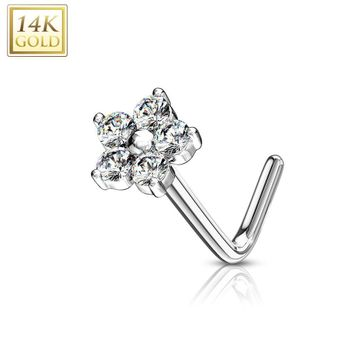 14 Kt. Gold L Bend Nose Stud Ring with CZ Flower Top 20ga - Sold Each