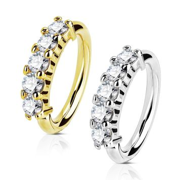 14Kt. Gold Five CZ Set Open Hoop Rings Hinged Clicker for Nose, Ear Cartilage and Lip Piercings