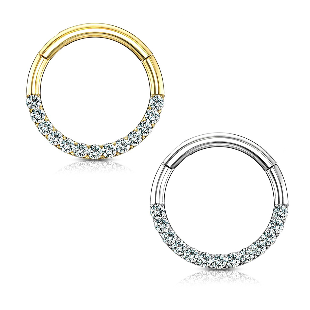 14kt Gold Cz Paved Half Circle Hinged Hoop Rings For Nose Septum