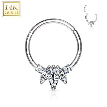 14 Kt. Gold Three Marquise CZ with Round CZ Hinged Clicker Hoop Ring for Nose Septum, Daith 16ga