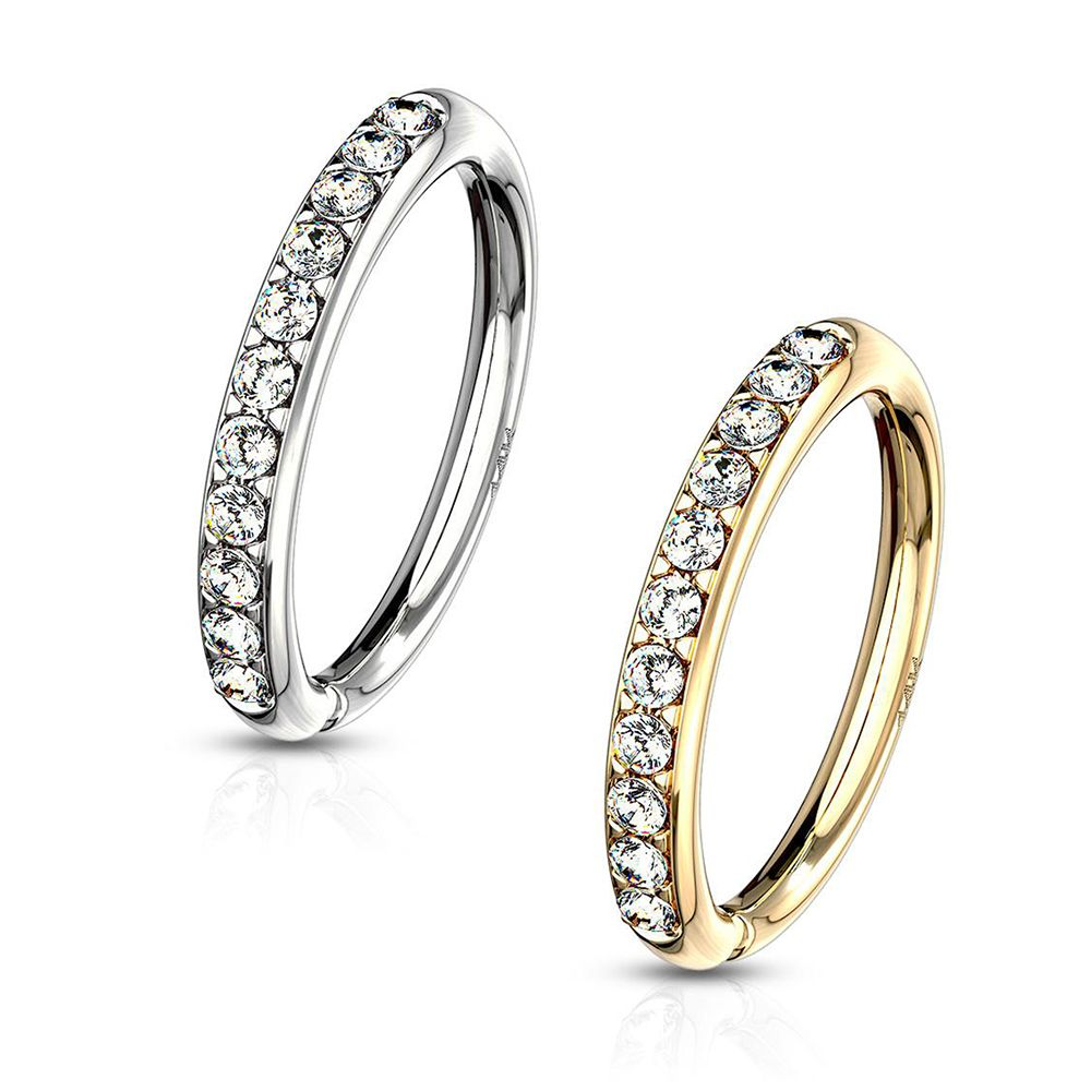 4f610fa3778b7 14 Kt. Gold CZ Paved Half Circle Bendable Hoop Rings For Ear ...