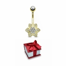 Holiday Gift Gem Paved 6 Petals CZ Cluster Center 14 Karat Solid Gold Belly Button Ring 14ga Sold as a piece