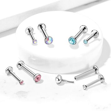 Gem Set Half Ball Push In Threadless Labret Flat Back Stud for Nose, Labret, Monroe, Cartilage and More Surgical Steel- Sold Each