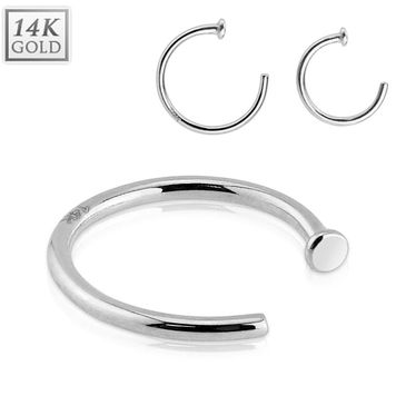 Genuine 14kt White Gold 20ga Nose Hoop