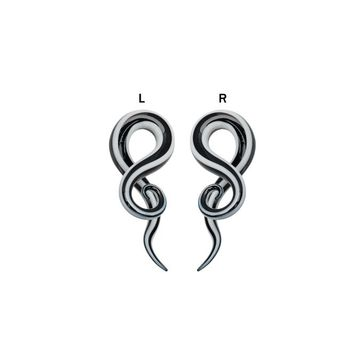 Pair of  Glass Ear Taper Black and White